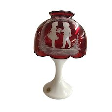 Westmoreland Mary Gregory Ruby Candle Lamp With White Milk Glass Base