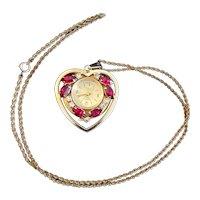 Quartex Vintage Ladies Heart Shaped Watch Necklace