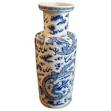 Antique 19th Century Chinese Blue Dragon Porcelain Vase