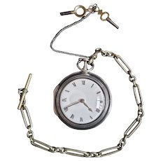 Antique Sterling Silver Verge Fusee Pocket Watch - WORKING