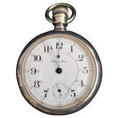 Vintage 1902 Hamilton Coin Silver Pocket Watch