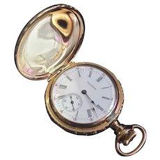 Vintage 1901 Seaside Grade 14K Gold Plated Pocket Watch