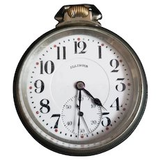 Vintage 1920s Illinois Silveroid Pocket Watch