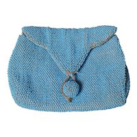 Vintage beadwork clutch purse, Blue
