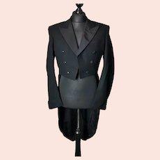Vintage black wool tailcoat, gents, c1950s