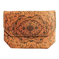 Vintage 1930's embossed leather clutch purse, Boho, bag