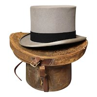 Vintage c1930's grey top hat, leather hat box, Dunn and Co