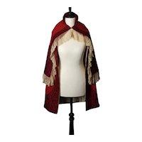 Antique Victorian red day cape, Lace trim