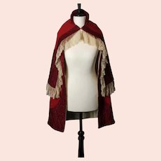Antique Victorian red day cape, Lace trim