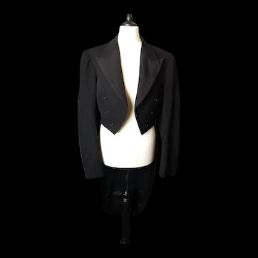 Vintage black wool Tailcoat, c1950's