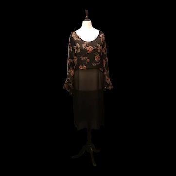 Vintage Art Deco chiffon evening dress