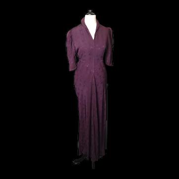 Vintage 1930's plum satin evening gown