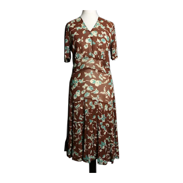 Vintage 1920's chiffon day dress, Bird and floral print