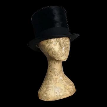 Antique Edwardian black silk top hat