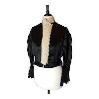 Victorian black satin blouse, cream lace, jet bead