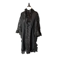 Victorian mourning mantle, cape, lace and jet