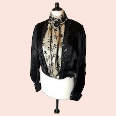 Antique Edwardian black and cream satin bodice, blouse, sequinned