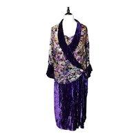 Vintage 1920s Art Deco velvet devore dress