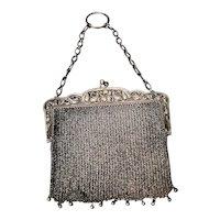 Antique Art Nouveau silver and mesh finger purse