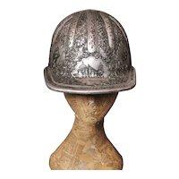 Vintage mining helmet, engraved, Mcdonald, oil workers hat