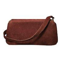 Vintage 1940s ladies suede top handle handbag, Purse