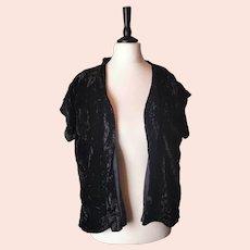 Vintage 30s Black velvet jacket, short sleeved