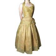 Vintage 50s gold halterneck dress, party frock, prom