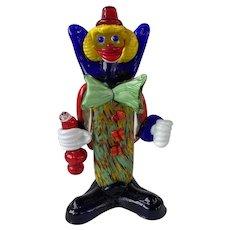 2 Vintage J.I. Company Venetian Murano Glass Clowns