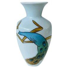 Antique 1884-1908 Art Nouveau Moritz Zdekauer Austrian Peacock Vase