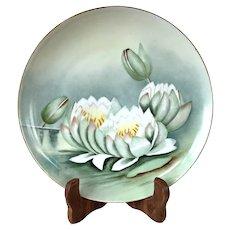 Antique 1884-1908 Art Nouveau Moritz Zdekauer Austrian Water Lilies Plate - Artist Signed