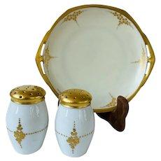 Antique 1884-1908 Art Nouveau Moritz Zdekauer Austrian Shakers and Bread Plate - Plate Unsigned