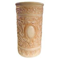 "Robinson Ransbottom (Weller Mold) Art Pottery Clinton Ivory Line 20"" Umbrella Stand"