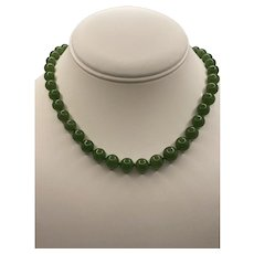 14k Natural Jade Graduated Bead Necklace