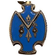 14k Gold Filled Victorian Blue Enamel Locket