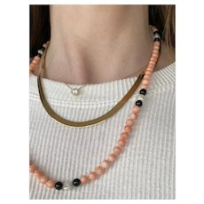 14k Coral and Baroque Pearl Necklace
