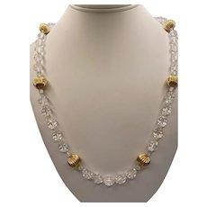 14k Rock Crystal Bead Necklace