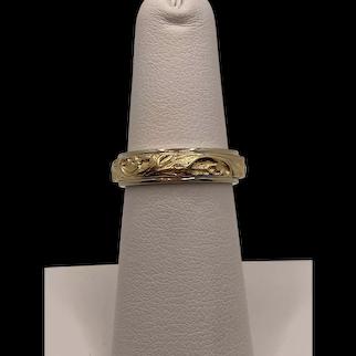 14k Floral Carved Ring