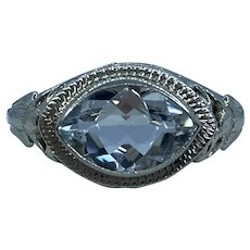 Art Nouveau 14k Aquamarine Ring