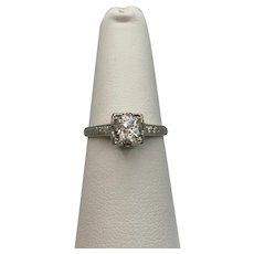 18k Art Deco White Sapphire Ring