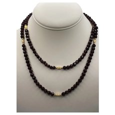 14k Garnet Faceted Bead Necklace