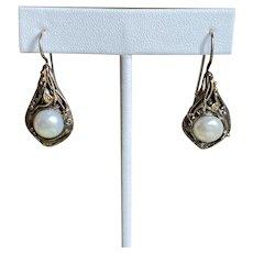 14k Sterling Mabe Cultured Pearl Earrings