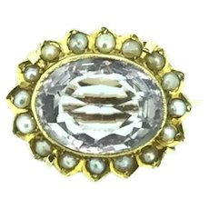 Outstanding Gold 14 carats Amethyst Dainty Brooch Pin