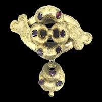 Georgian Aesthetic Pinchbeck Garnet Brooch Pin Rare Beauty C1800s