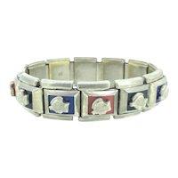 Rare Opera Empire Articulated Bracelet Colourful Metal Cameo C.1950