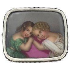 Authentic Brooch Miniature Portrait Hand painted Silver 800 Celestial C.1850