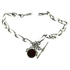 Pocket Watch Chain Silver Hallmarked Swivel Agate Stone Fob Pendant