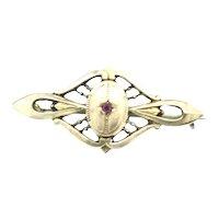 Art Nouveau German Brooch Pin Garnet Paste Stone Gold Cased C1895
