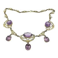 Majestic Necklace Amethyst Paste Open Work Gold Filled Circa1900s