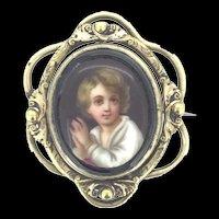 Hand Painted Brooch Miniature Portrait Pinchbeck Porcelain Whitby Jet C.1850