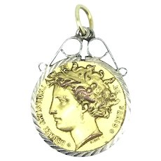 French Artistic Coin Medal Pendant Profile Textured Paris Signed C.1900